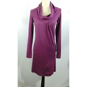 Athleta Dress Purple Long Sleeve Cowl Neck Pocket